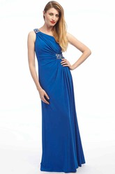 Sheath Ruched One-Shoulder Floor-Length Sleeveless Chiffon Prom Dress With Broach And Epaulet