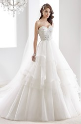 Sweetheart A-line Ruching Wedding Gown with Sequins in Bodice and Tiers Peplum