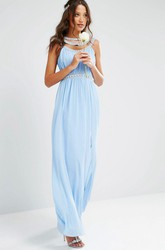 Sheath Ruched Scoop-Neck Floor-Length Sleeveless Chiffon Bridesmaid Dress With Beading