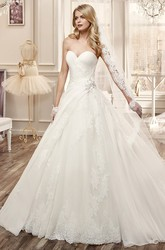 Sweetheart A-Line Wedding Dress With Side Floral Waist And Embroidery