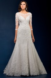 3-4 Sleeved Long Wedding Dress With Keyhole Back And Appliques