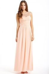 Ankle-Length Ruched Bateau Neck Sleeveless Chiffon Bridesmaid Dress