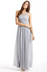 Ankle-Length Ruched Sleeveless Bateau Neck Chiffon Bridesmaid Dress
