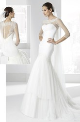 Mermaid Scoop-Neck 3-4-Sleeve Tulle Wedding Dress With Illusion