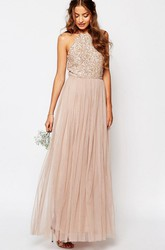 Ankle-Length A-Line High Neck Beaded Sleeveless Tulle Bridesmaid Dress