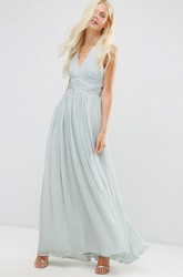 A-Line Ankle-Length Sleeveless Ruched V-Neck Chiffon Bridesmaid Dress