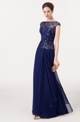 Floral Bateau Neck Illusion Sleeve Chiffon Prom Dress