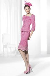 Pencil Scoop-Neck Knee-Length Jacket Lace Prom Dress