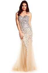 Sheath Sweetheart Maxi Sleeveless Beaded Tulle&Sequins Prom Dress