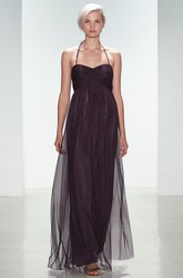 Empire Spaghetti Long Tulle Bridesmaid Dress With Ruching And V Back