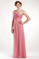 Floral Empire Sleeveless One-Shoulder Chiffon Bridesmaid Dress With Draping