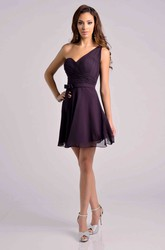 One-Shoulder Short A-Line Chiffon Bridesmaid Dress With Ruched Bodice And Ribbon