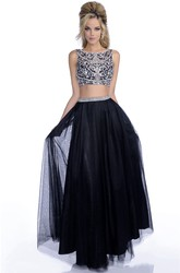 A-Line Tulle Crop Top Bateau Neck Sleeveless Prom Dress With Jeweled Bodice