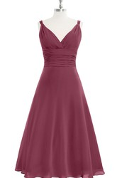 Chiffon Sleeveless A-Line Dress With V-Neck and Cinched Waistband