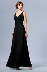 Sleeveless V-Neck Long Bridesmaid Dress With Appliqued Straps