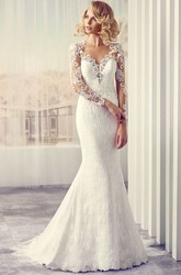 V-Neck Maxi Long-Sleeve Appliqued Lace Wedding Dress With Sweep Train And Illusion