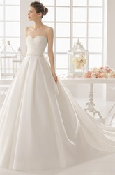 A-Line Floor-Length Sweetheart Jeweled Satin Wedding Dress With Criss Cross And Deep-V Back