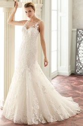 Scoop Long Appliqued Lace Wedding Dress With Court Train And V Back