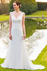 V-Neck Maxi Appliqued Cap-Sleeve Lace Wedding Dress With Sweep Train And Illusion