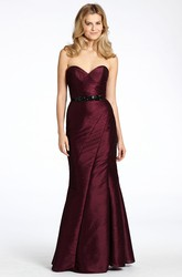 Mermaid Floor-Length Sweetheart Jeweled Sleeveless Satin Bridesmaid Dress