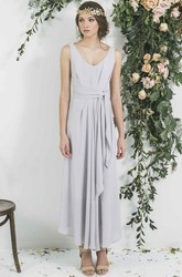 Ankle-Length Sleeveless Draped V-Neck Chiffon Bridesmaid Dress