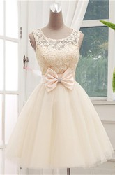 Timeless Sleeveless Lace Cocktail Dress Bowknot Tulle Short Prom Gowns
