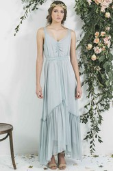 High-Low V-Neck Pleated Sleeveless Chiffon Bridesmaid Dress With Ribbon