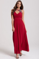Ankle-Length High Neck Sleeveless Ruched Chiffon Bridesmaid Dress With Straps