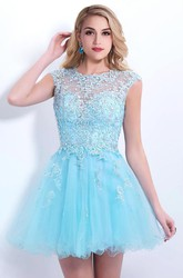 Elegant Sleeveless SHort Tulle Homecoming Dress Lace Appliques