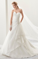 Sweetheart A-Line Pleated Chiffon Bridal Gown With Side Draping And Appliques