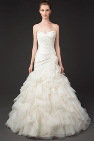 Mermaid Sweetheart Tulle Wedding Dress With Criss Cross And Cascading Ruffles