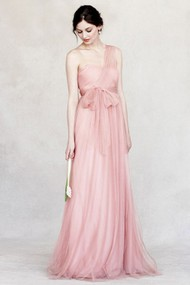 Sleeveless Bowed One-Shoulder Tulle Bridesmaid Dress
