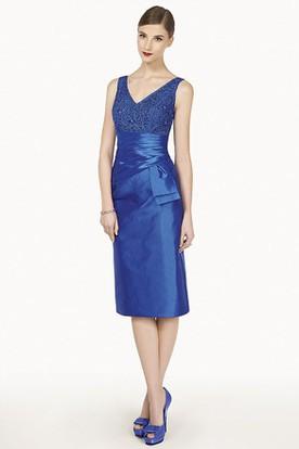 V Neck Sheath Knee Length Satin Prom Dress With Removable Jacket