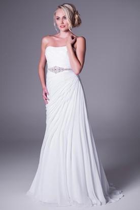 A-Line Sleeveless Strapless Side-Draped Long Chiffon Wedding Dress With Waist Jewellery