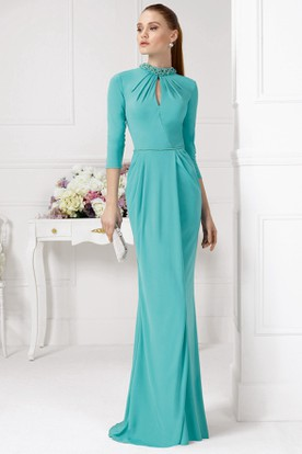 Sheath Floor-Length High Neck 3-4 Sleeve Beaded Chiffon Prom Dress