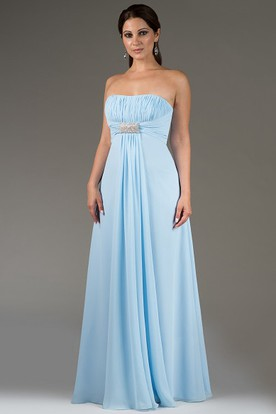 Pleated Bodice Strapless Chiffon Long Bridesmaid Dress With Beading Waist