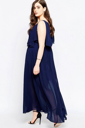 Ankle-Length Sleeveless Pleated V-Neck Chiffon Bridesmaid Dress