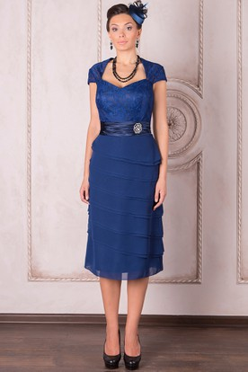Knee-Length Cap Sleeve Square Neck Lace Chiffon Mother Of The Bride Dress