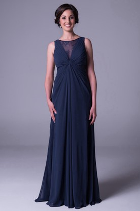 Scoop Neck Sleeveless Lace Chiffon Bridesmaid Dress