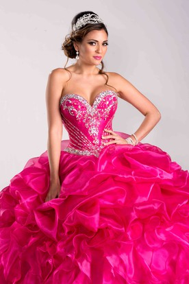 Crystal Detailed Corset Ball Gown With Lace-Up Back