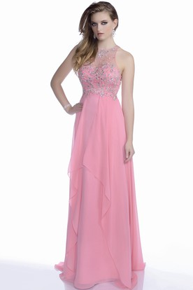 Cap Sleeve Chiffon A-Line Prom Dress With Beaded Bodice And Draping