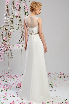Sheath Floor-Length Jeweled Sleeveless High Neck Chiffon Wedding Dress With Beading And Illusion
