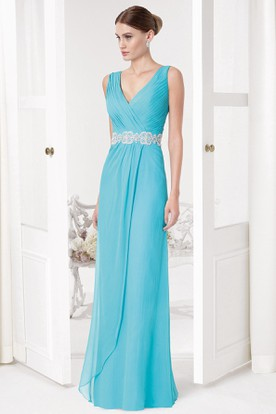 Sheath Sleeveless Ruched V-Neck Maxi Chiffon Prom Dress With Waist Jewellery