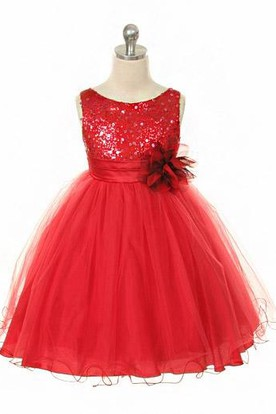 Floral Tea-Length Floral Sequins&Satin Flower Girl Dress With Ribbon