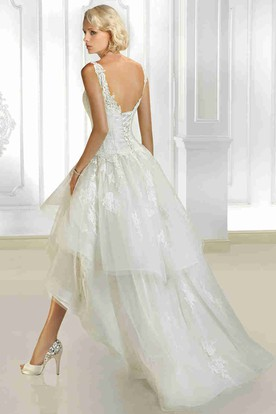 A-Line Tiered V-Neck High-Low Sleeveless Organza Wedding Dress With Appliques And Corset Back