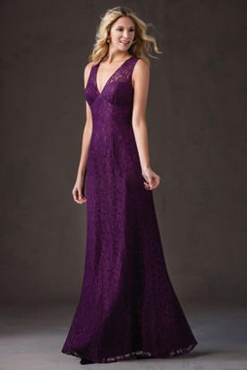 Simple V-Neck Long Lace Bridesmaid Dress With Illusion Style