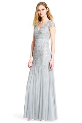 Sheath Beaded Cap Sleeve V-Neck Tulle Bridesmaid Dress With Pleats