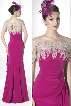 Sheath Short-Sleeve Off-The-Shoulder Side-Draped Maxi Jersey Prom Dress With Appliques