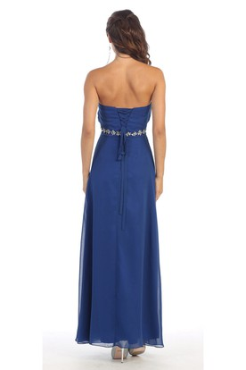 A-Line Strapless Chiffon Corset Back Dress With Waist Jewellery And Pleats