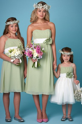 Tea-Length Floral Strapless Chiffon Bridesmaid Dress With Ruching
